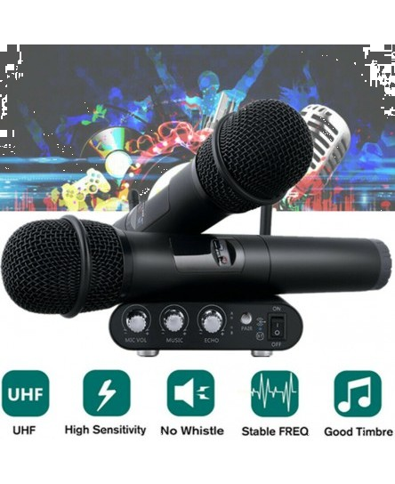 Karaoke UHF Professional Wireless Microphone System 10 Channel 2 Handheld Micro